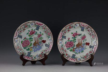 A Pair of Chinese Export Famille Rose Plates