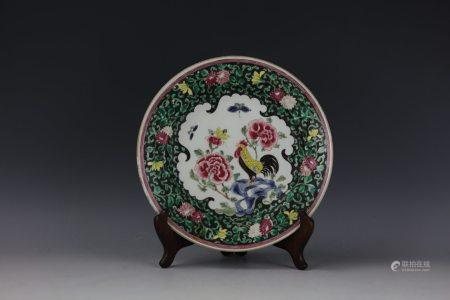 A Chinese Export ROOSTER Famille Rose Plate