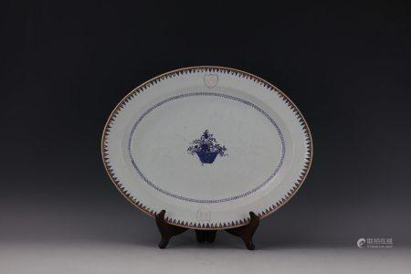 A Chinese Export Family Crest Oval Plate