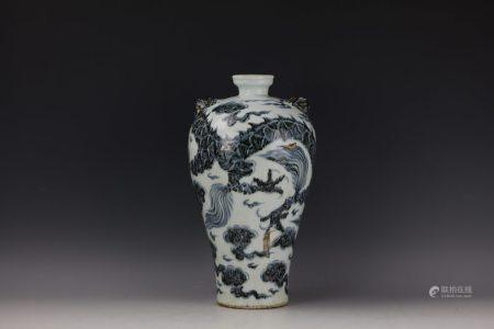 A Blue and White Meiping Vase of a Dragon