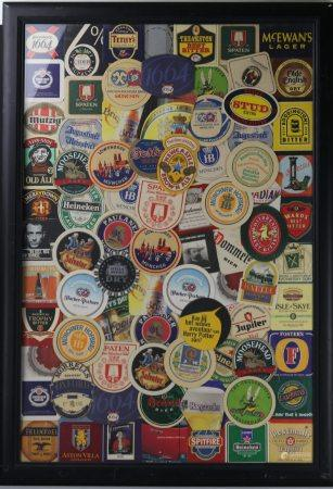A Framed Collection of World Beers Coasters