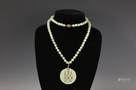 A Double Happniness Jade Curved Necklace