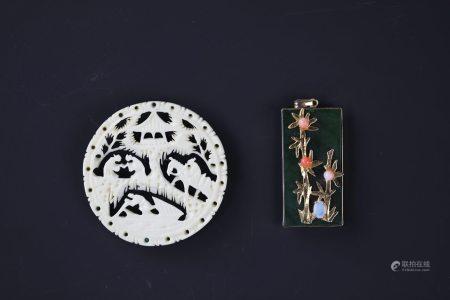 A Bone Curved Pendant and Jadeite Pendant