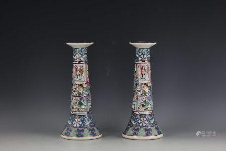 A Pair of Chinese Famile Rose Figural-storied Candle