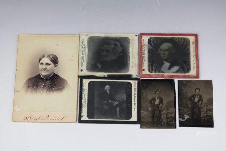 Three Old photos and Three Photography Plates