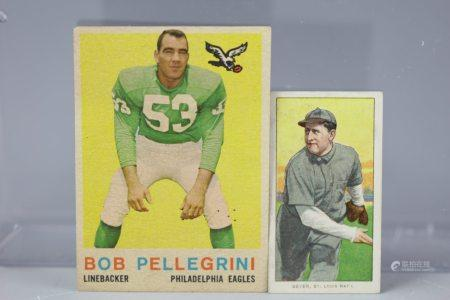 2 Cards1909 Rube Geyer 1952 Bob Pellegrini Piedmont