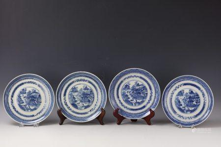 Four Blue and White Porcelain Plates