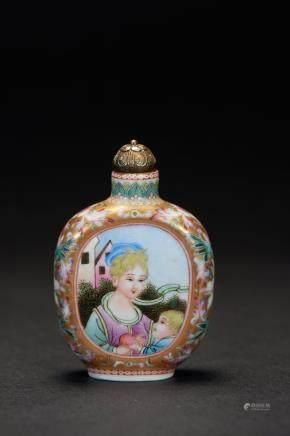 十九世纪 瓷胎画珐瑯开光西洋仕女图鼻烟壺
