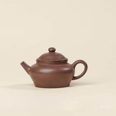 清末 花款紫泥瓮壶