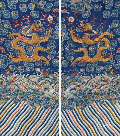 清 蓝地平金彩绣双龙纹袍料