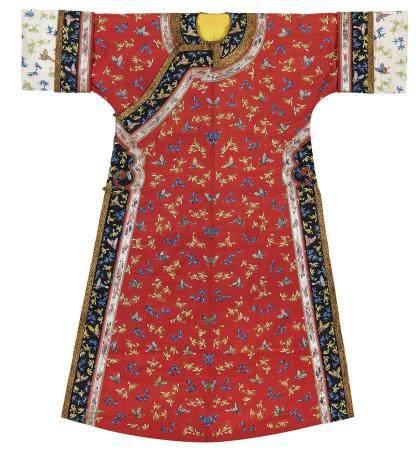 清中期 大红地缂丝彩蝶兰草纹满式衬衣