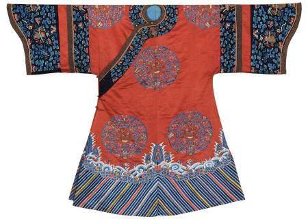 清道光 大红地绣八团花卉纹女吉服袍