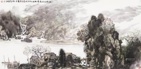 当代 于永茂 江村烟雨