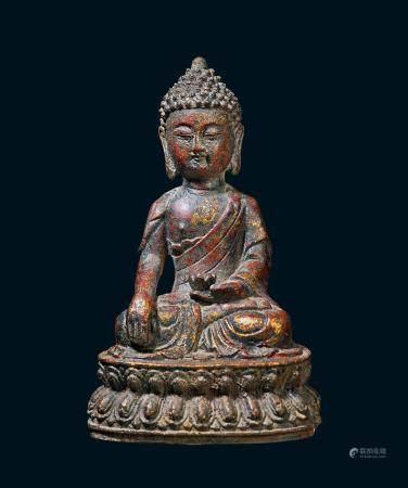 清代 铁鎏金释迦牟尼佛像