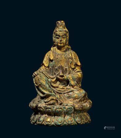 清代 铜鎏金观音菩萨像