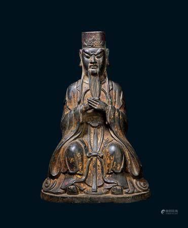 清代 铜鎏金道教人物像