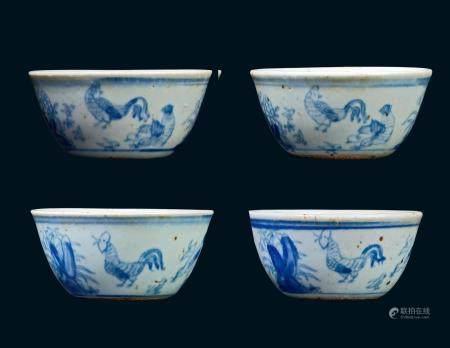 明代 青花鸡缸杯 (一组四件)