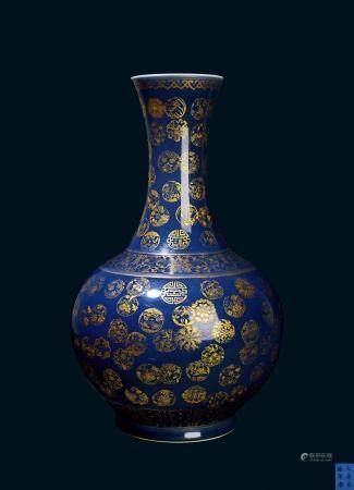清代 清光绪蓝釉底描金团纹赏瓶