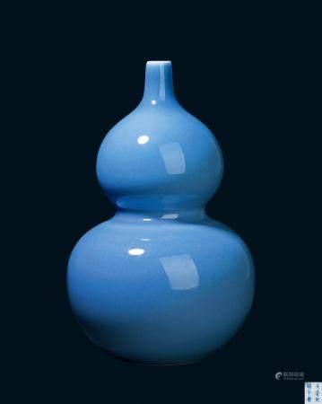 清代 清光绪天蓝釉葫芦瓶