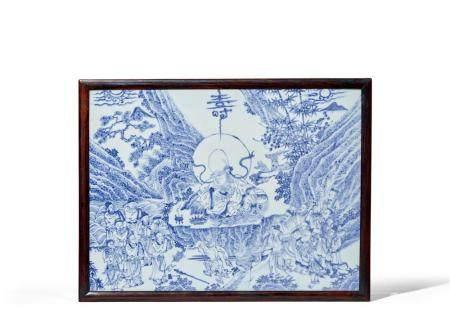 明 青花群仙贺寿图瓷板