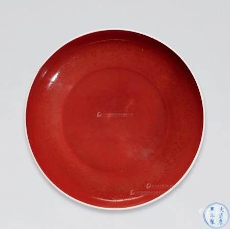 清康熙 宝石红釉盘