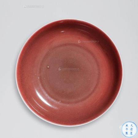 清康熙 霁红釉盘
