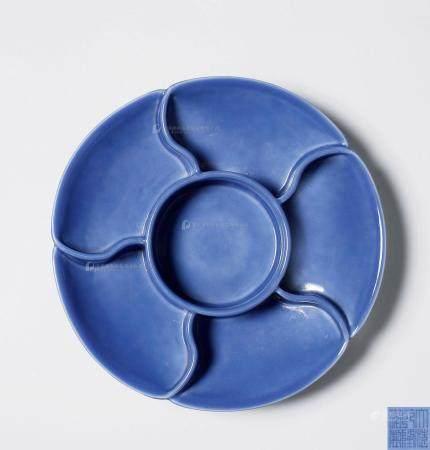 清乾隆 霁蓝釉调色盘