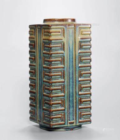 19世纪 宜钧灰蓝釉八卦琮式瓶