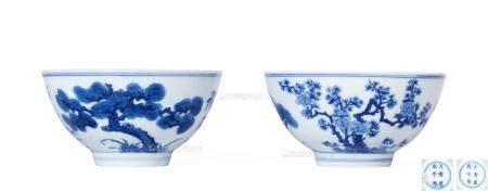 清康熙 青花松竹梅纹碗 (一对)