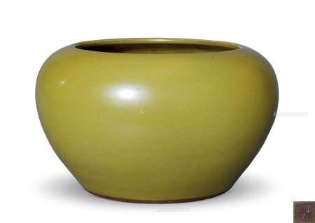 清雍正 茶叶末釉案缸