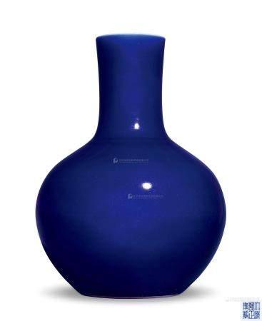 清雍正 霁蓝釉天球瓶