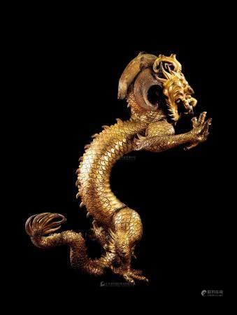清雍正 金铜铸雕「游龙」立像