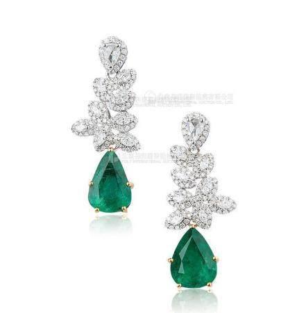 总重4.16克拉 天然赞比亚祖母绿配钻石耳环