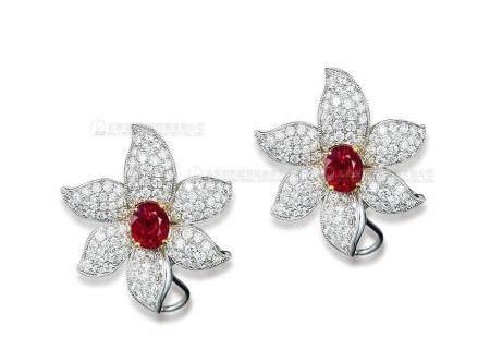 总重1.80克拉 天然莫桑比克鸽血红红宝石配钻石耳环 未经加热