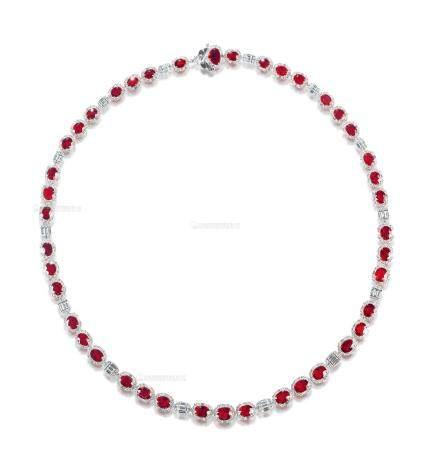 总重25.60克拉 天然莫桑比克鸽血红红宝石配钻石项链 未经加热