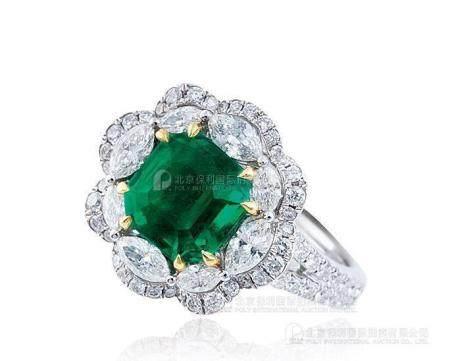 2.65克拉 天然哥伦比亚祖母绿配钻石戒指
