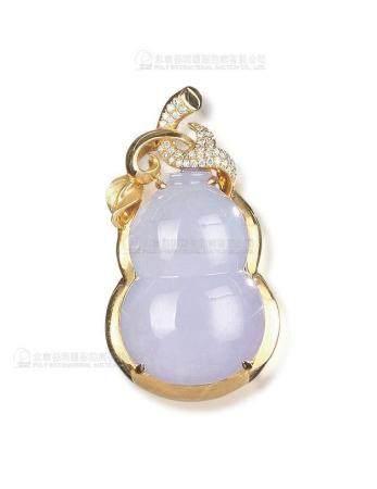 天然紫罗兰翡翠葫芦配钻石吊坠