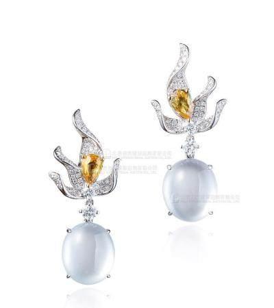 天然冰种翡翠蛋面配钻石及黄色蓝宝石耳环