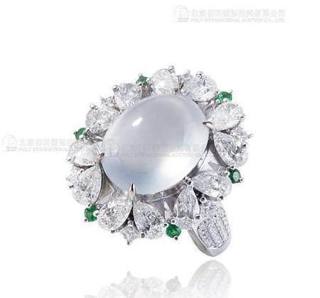 天然冰种翡翠蛋面配钻石及沙佛莱石戒指