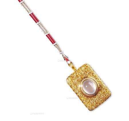 天然冰种翡翠蛋面配钻石香囊吊坠项链