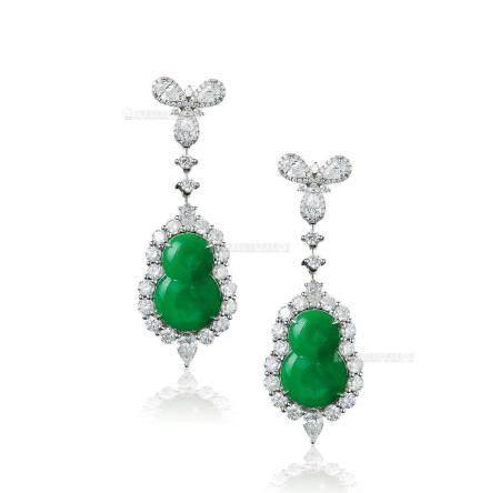 天然满绿翡翠葫芦配钻石耳环