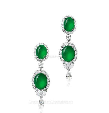 天然满绿翡翠双蛋面配钻石耳环