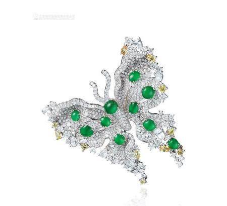 天然满绿翡翠蛋面配黄色钻石及钻石蝴蝶胸针