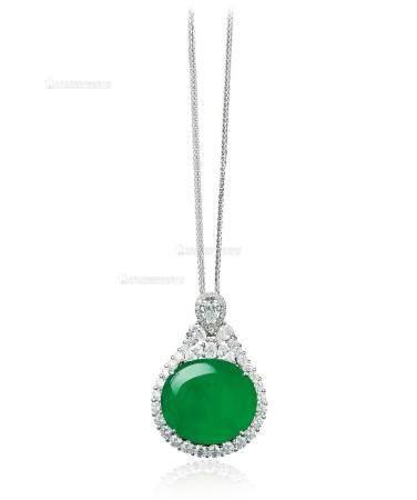 天然满绿翡翠蛋面配钻石项链