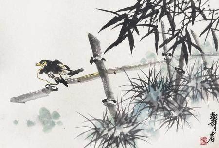 潘天寿 竹鸟镜片