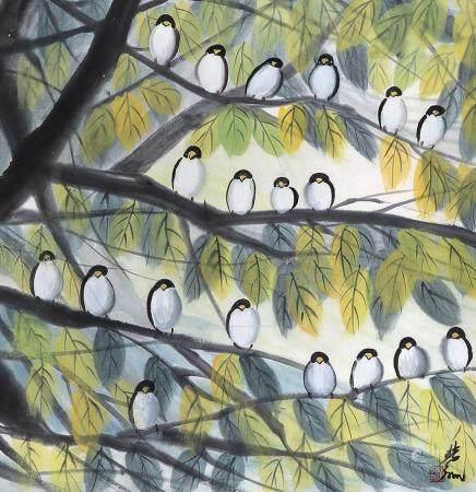 林风眠 麻雀立轴