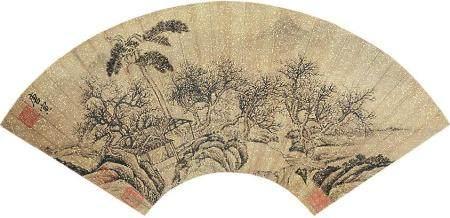 唐寅 山水扇面镜片