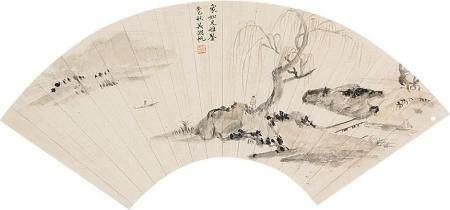 吴湖帆 山水扇面镜片