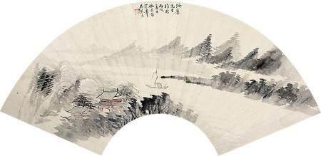 吴琴木 山水扇面镜片