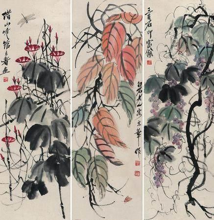 齐白石 花卉三屏立轴
